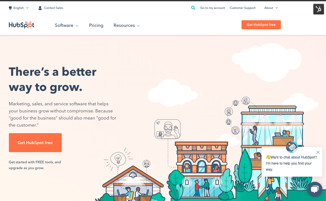 HubSpot home page layout