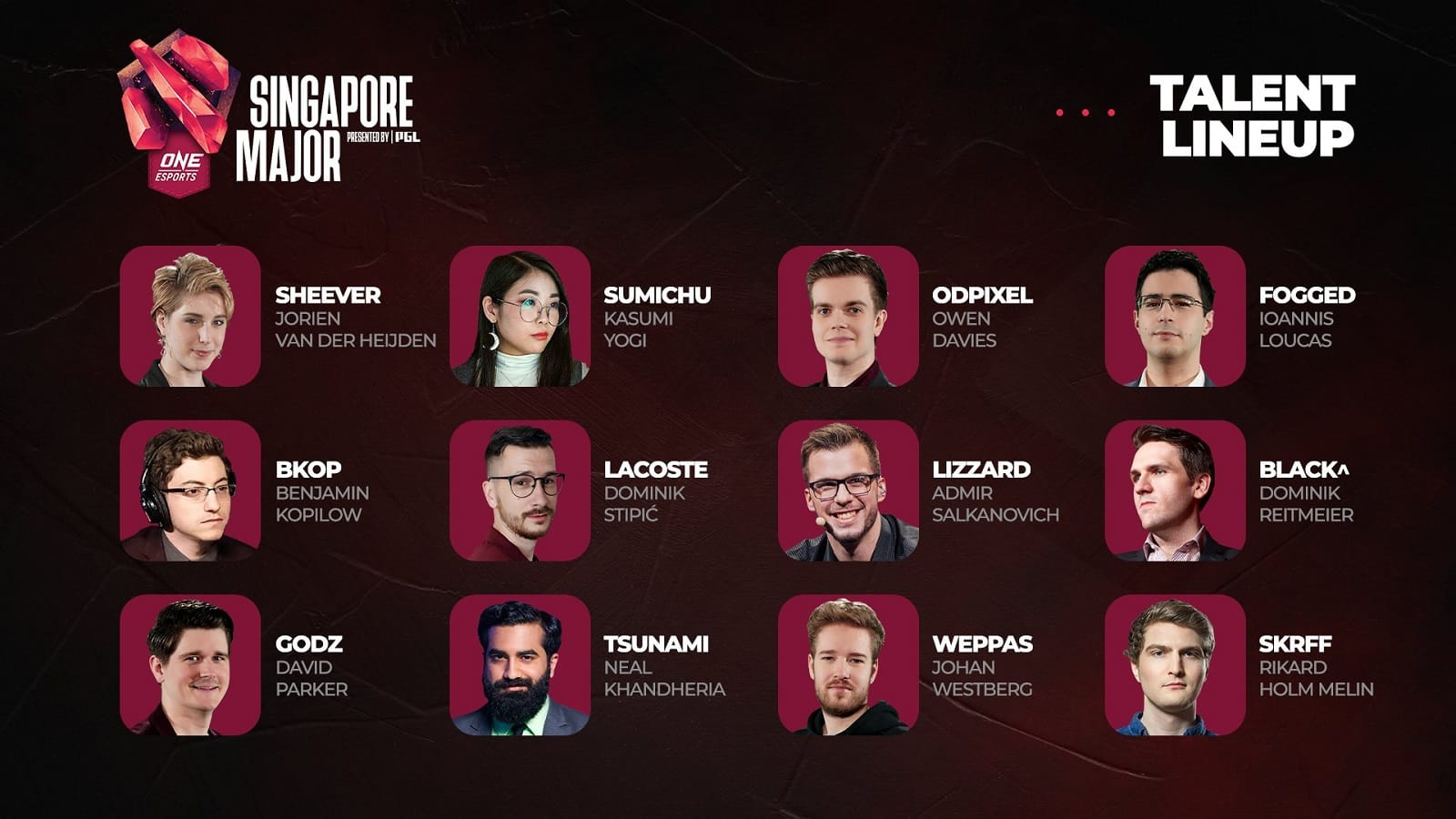 The whole talent lineup for the ONE Esports Singapore Major 2021