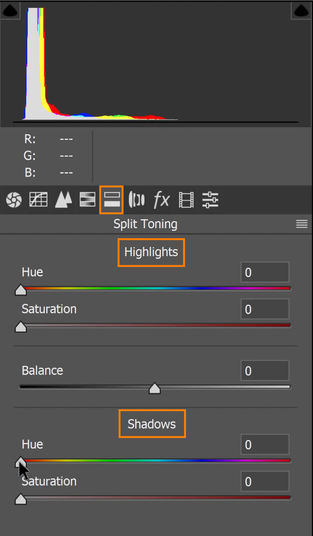 Switch to the Split Toning tab and add colors to your Highlights and Shadows