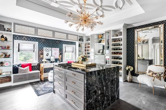 Huge Walk-in Closet Ideas with Embossed Ceiling Textures