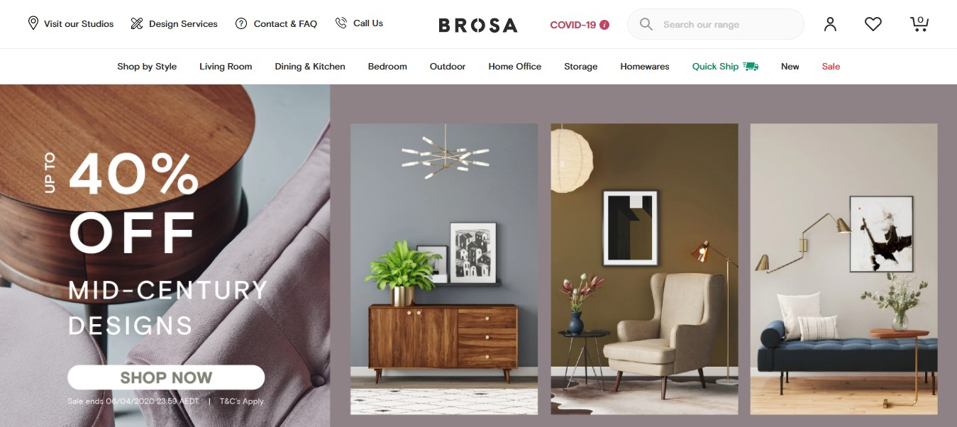 Brosa's landing page - photos of nicely decorated rooms