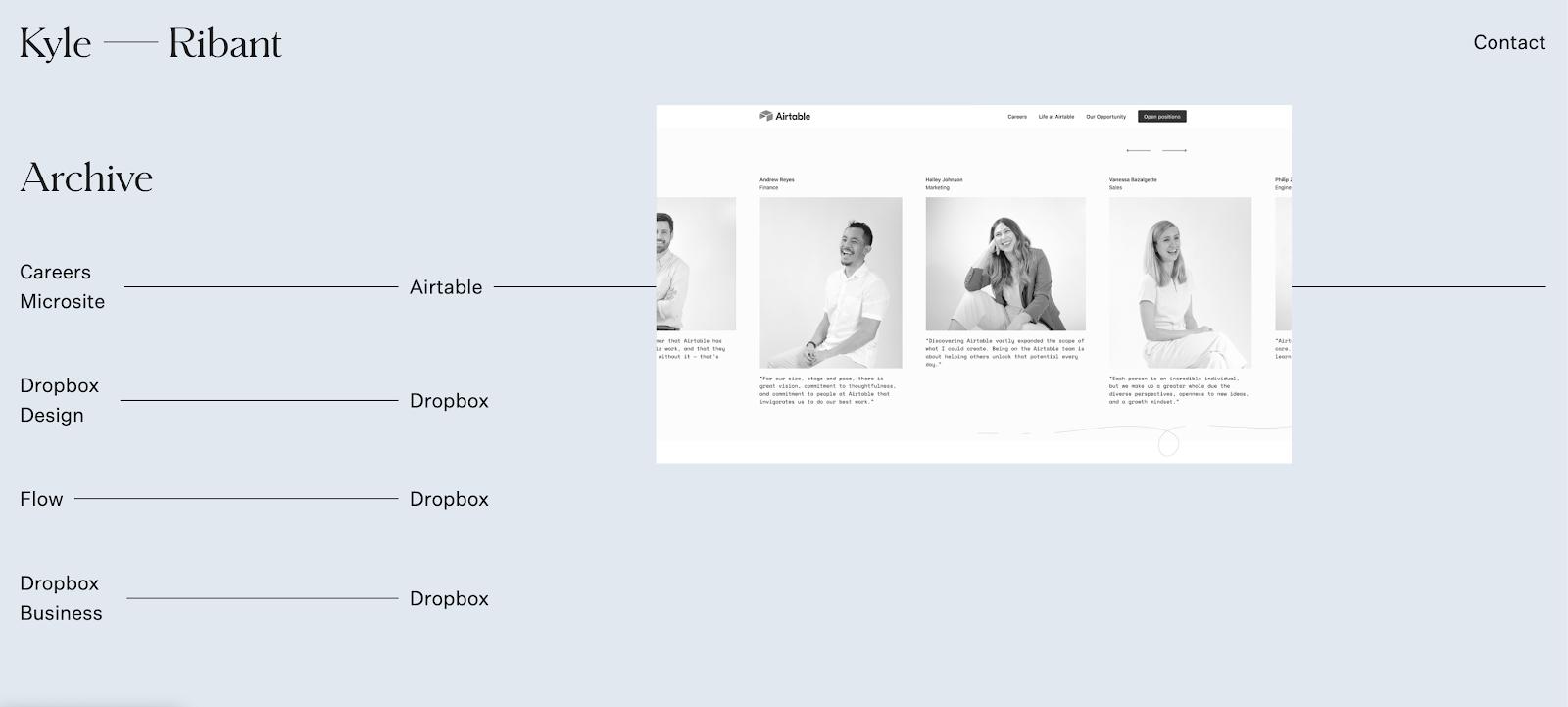 Screenshot of kyleribant.com, Kyle Ribant's UX Design portfolio.