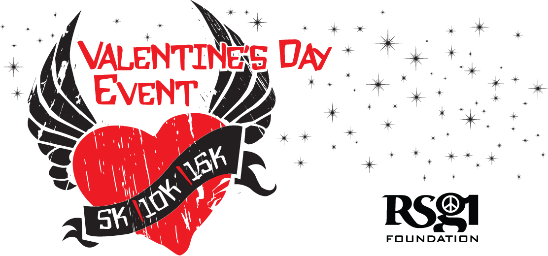 Banner for the Valentine's Day 5K, which features a red hear with black wings.