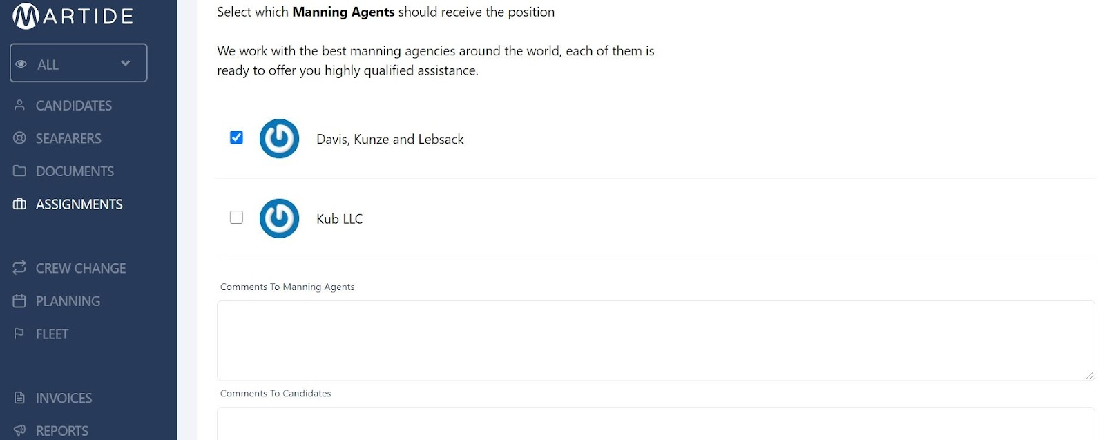 screenshot of the manning agent section of the assignments page