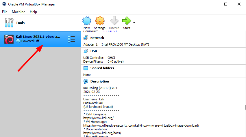 Virtual Hacking Lab - Import Kali Linux VirtualBox finished. Source: nudesystems.com