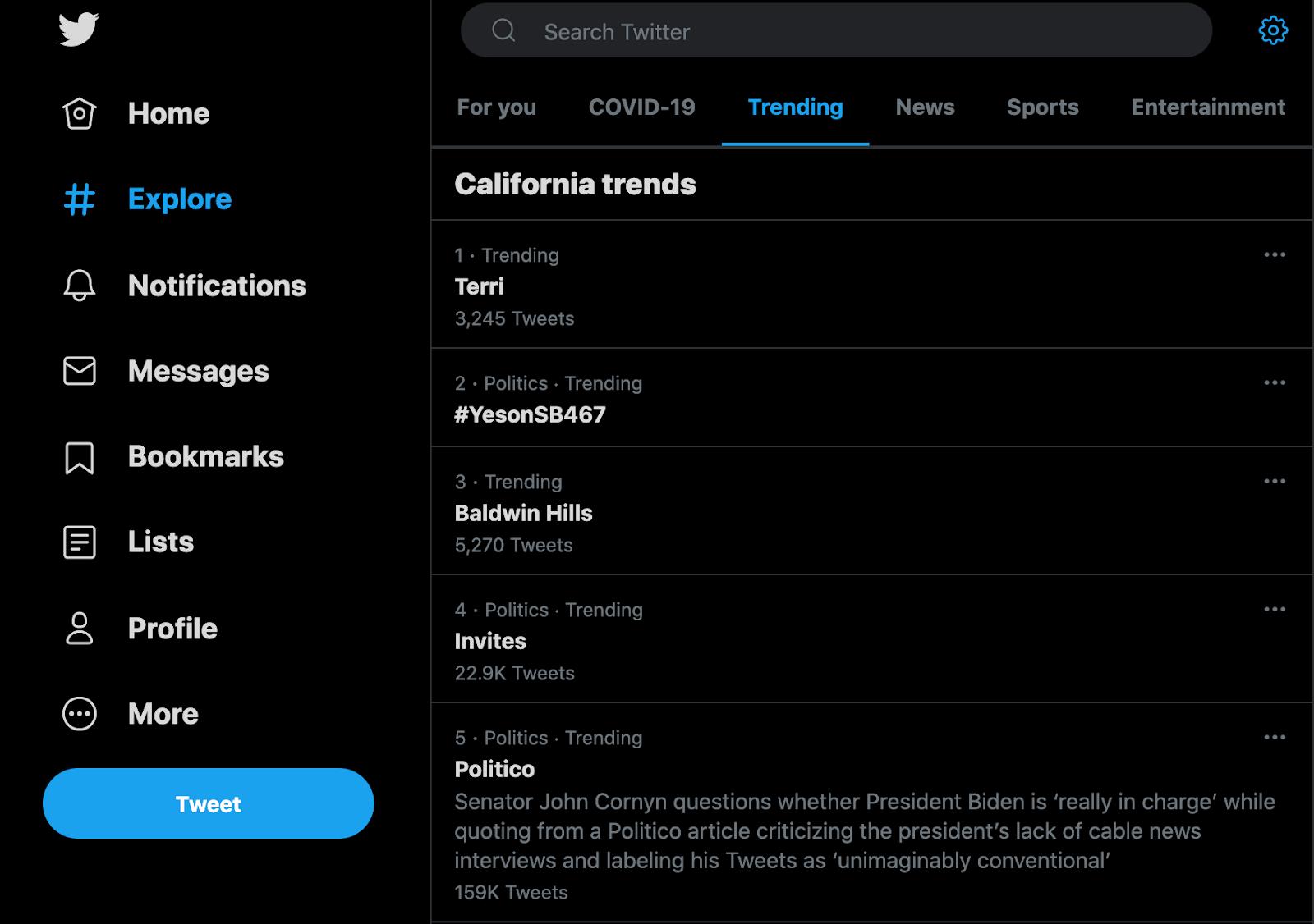 Twitter trending page screenshot.