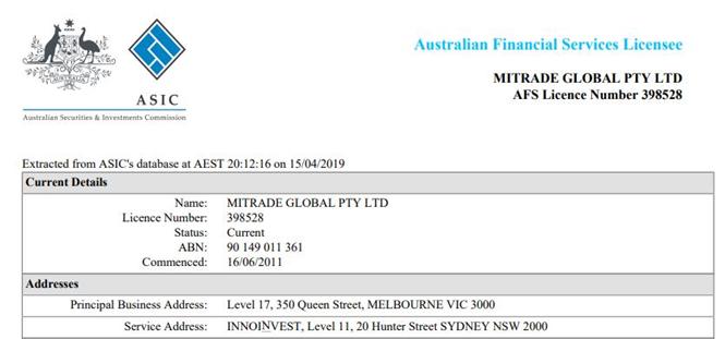 giấy phép Mitrade