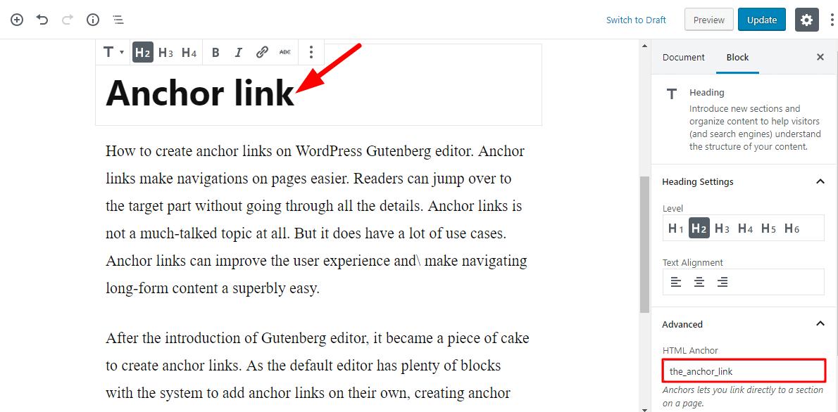 create anchor links