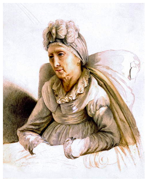 Image of Letizia Bonaparte Mother of Napoleon Bonaparte, she is depicted as frail, wearing a white dress with white wings, replicating an angel, © Tallandier / Bridgeman Images