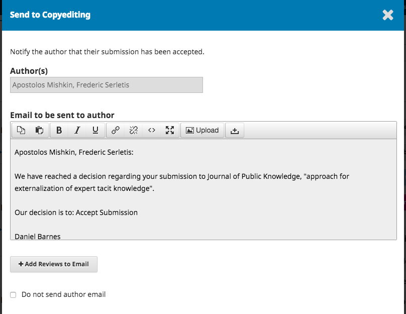 The Send to Copyediting window including information about the notification of acceptance to be sent to the author.