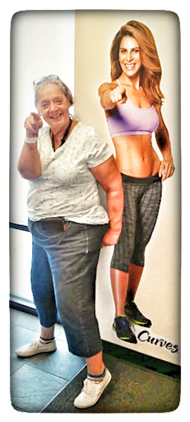 #Malika Bourne the No Non-cents Nanna feels welcome at Curves beside the image of Jillian Michaels. #ColoradoSprings #Curves for Women. It is graet place to work out no matter your age or shape.