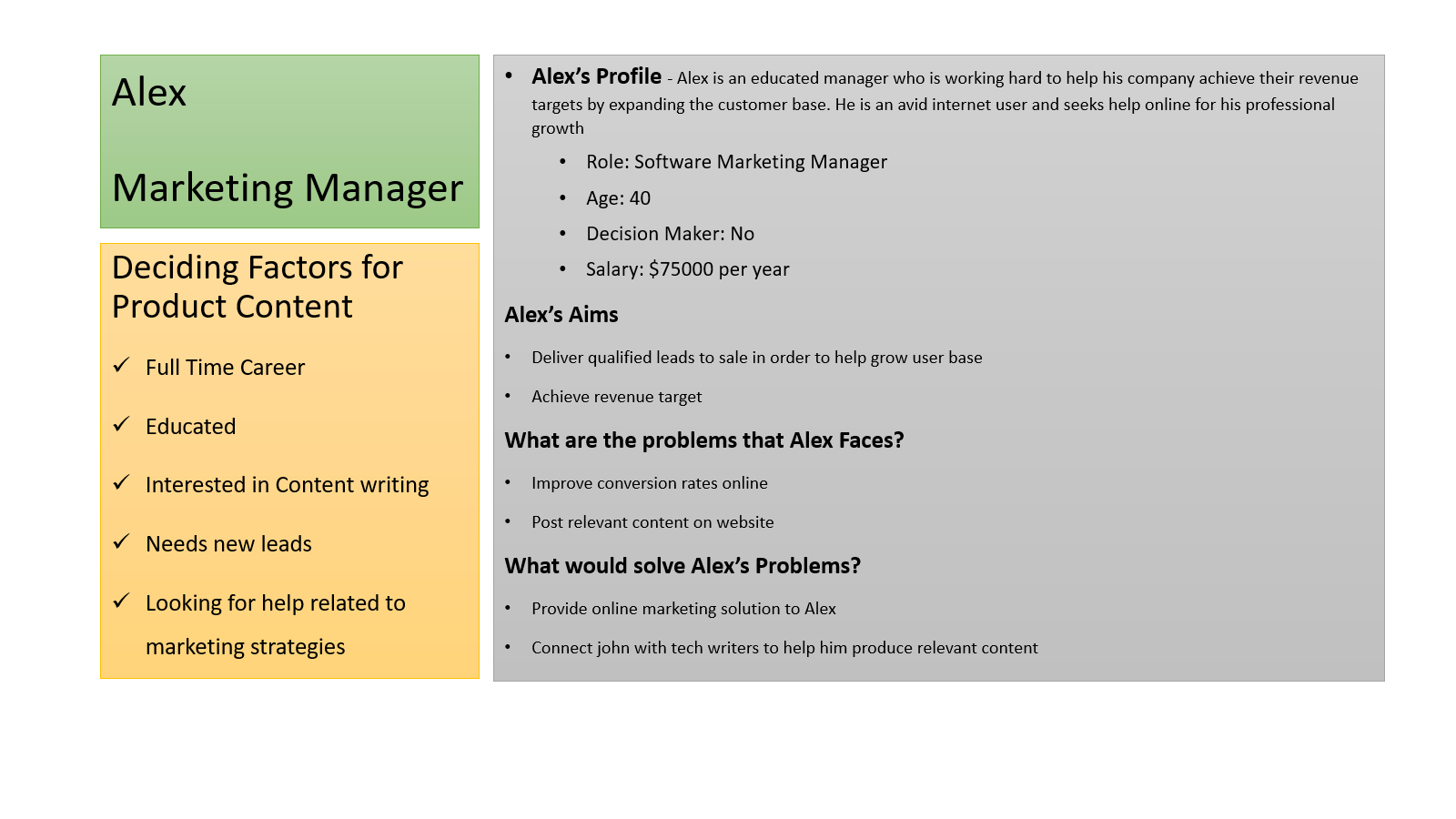 buyers persona for a marketing manager/ seo