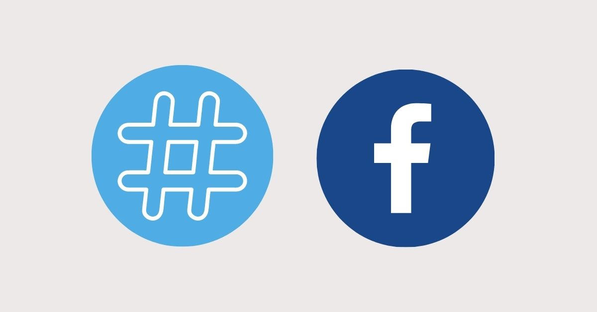 A hashtag and the Facebook icon side by side.