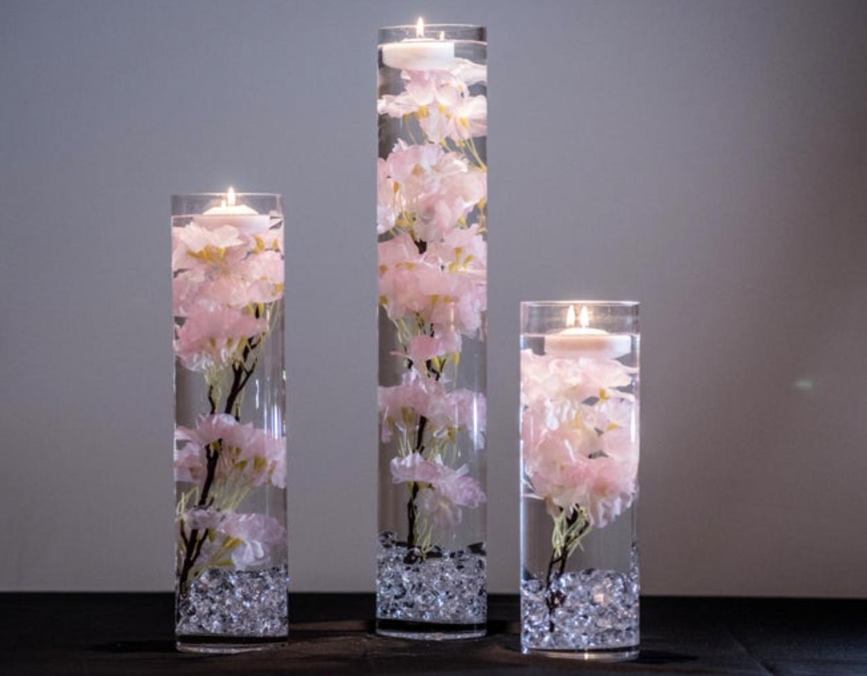 cherry blossom wedding table arrangements