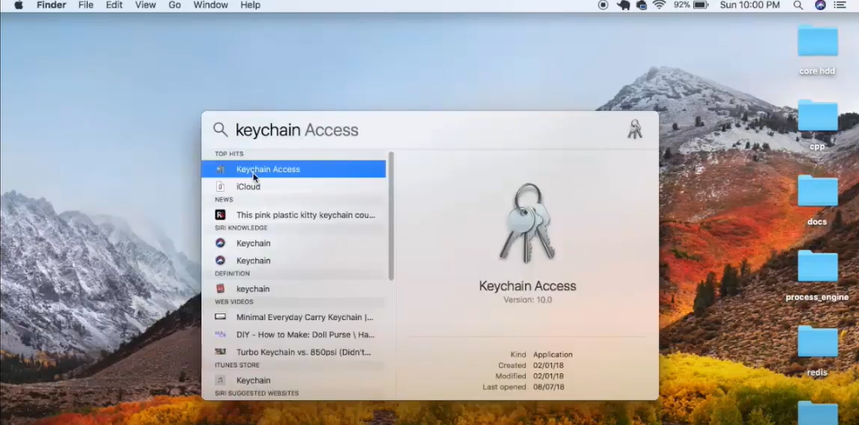 """Click on the search icon on the top right corner of your Mac desktop and type in """"Keychain Access."""""""