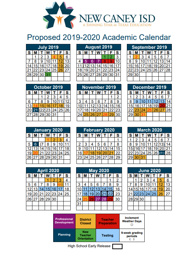 Texas School Calendar 2020 New Caney ISD   2019 20 Calendar   TexAgs