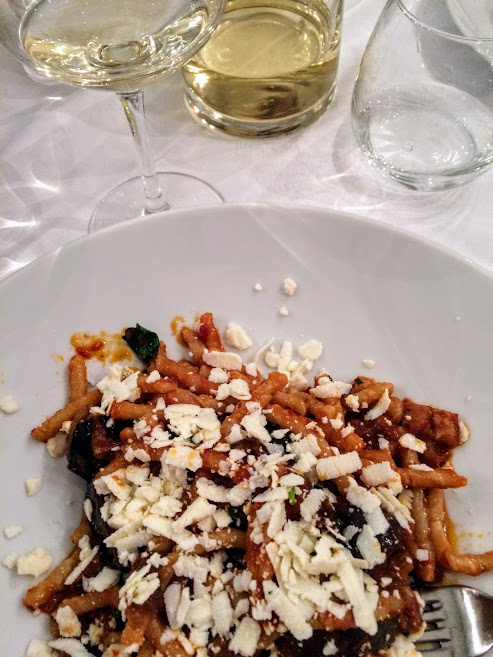 Restaurant in Noto, Sicily.  Pasta and wine from the Trattoria Fontana d'Ercole!