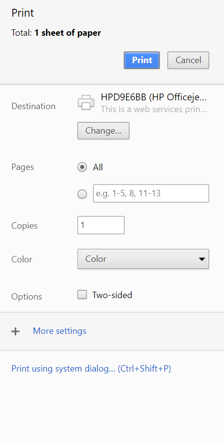 image depicting the print dialogue options in google chrome