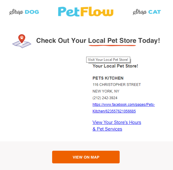 PetFlow encouraging to visit their new local pet store (location segmentation email sample)
