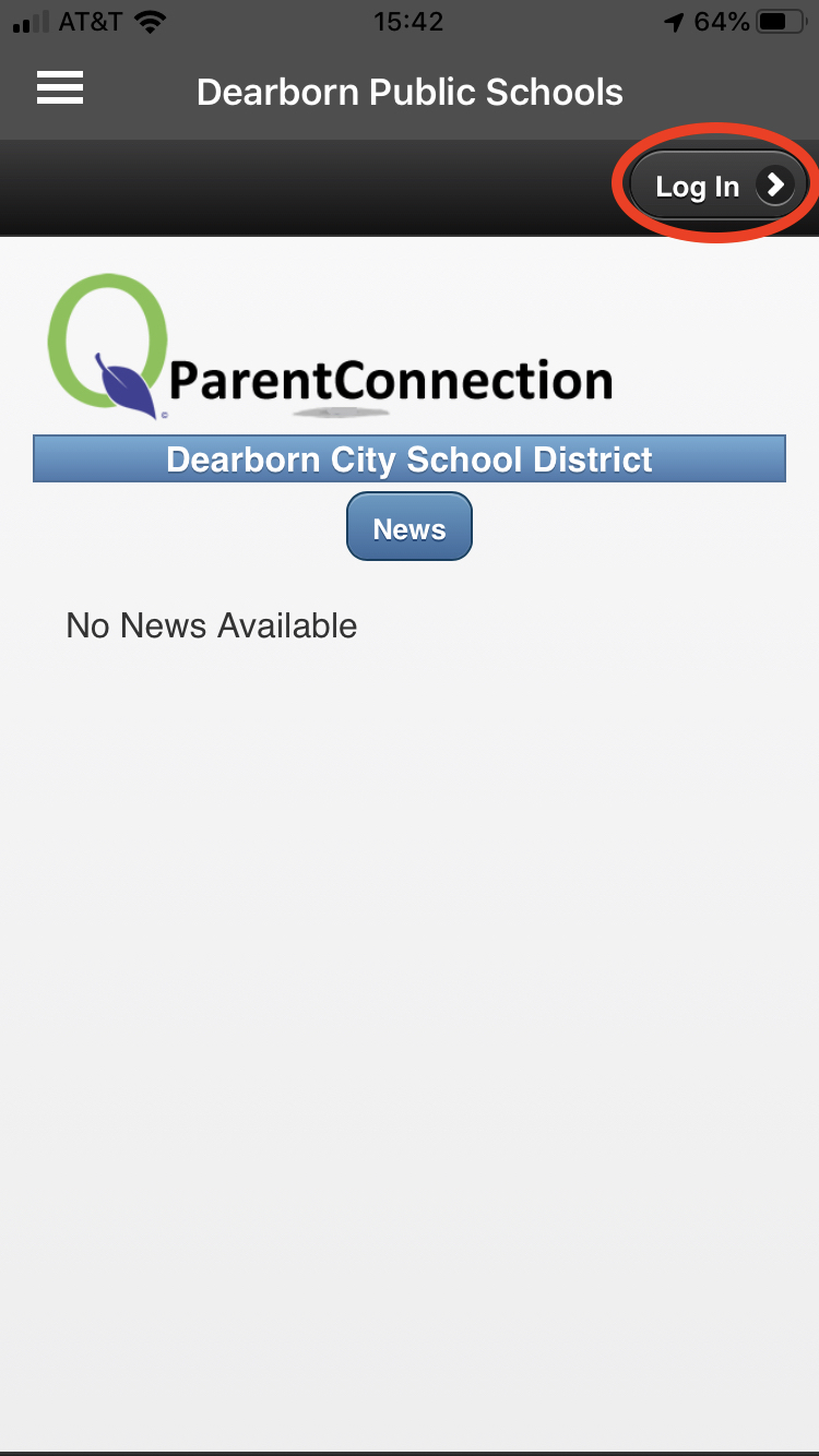 Log in button highlighted on ParentConnect screen