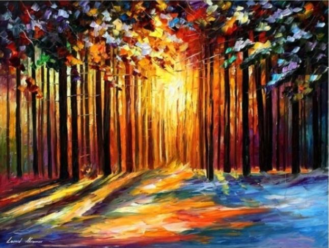 Leonid Afremov painting of trees