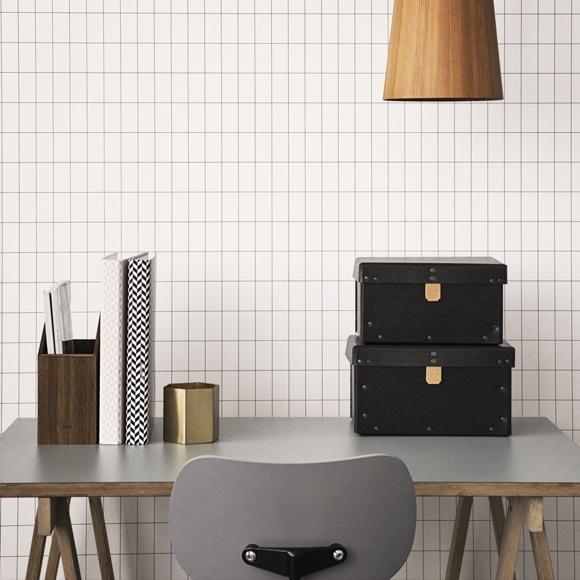 Papier peint - Ferm Living - Grid - Black/White