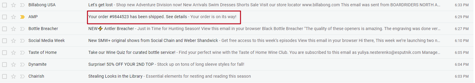 Shipping Confirmation Subject Line