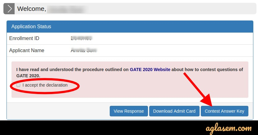 GATE 2021 Contest of Answer Key