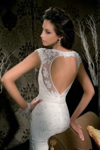 beautiful bride's dress with heart