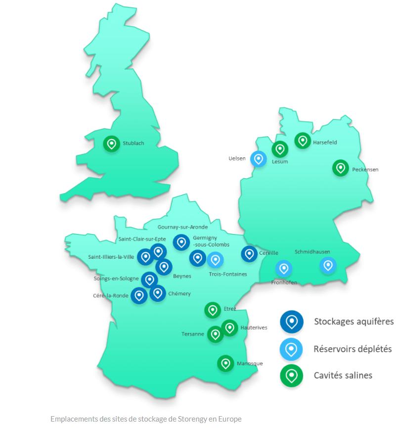 Emplacements des sites de stockage de Storengy en Europe