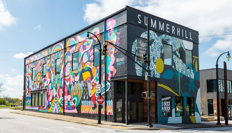 Building with mural in Summerhill, Atlanta