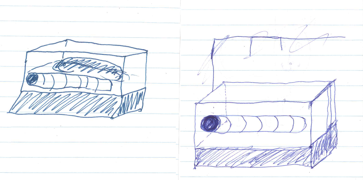 Two very bad doodles of a mummy-shaped object in a museum case, the one on the right tidier than the one on the left.