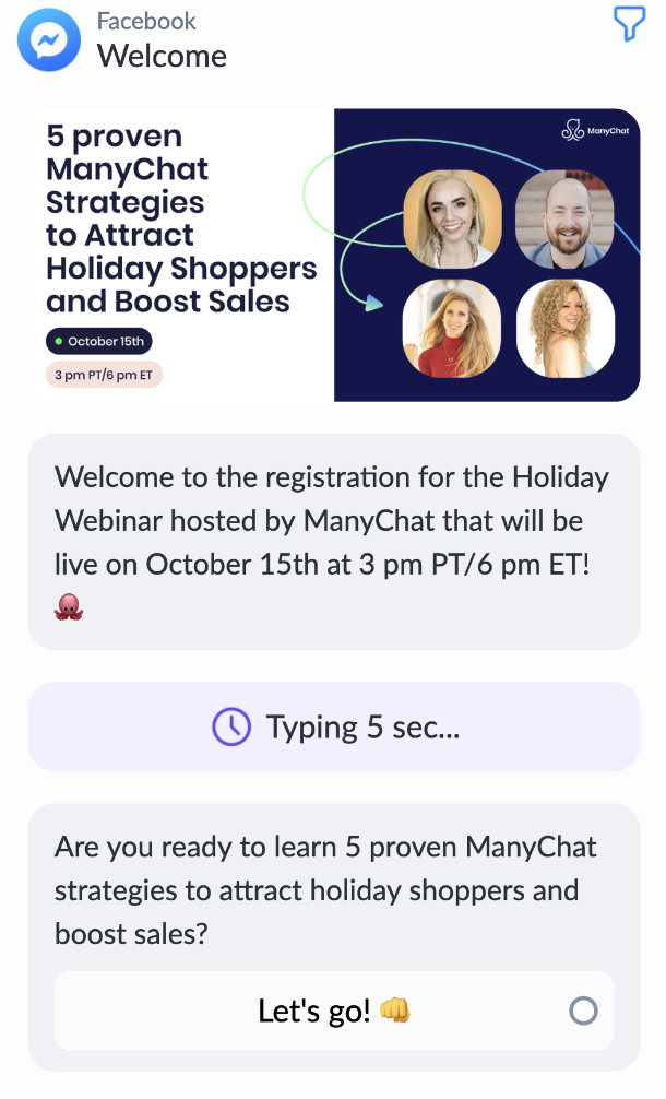 Creating welcome message in ManyChat