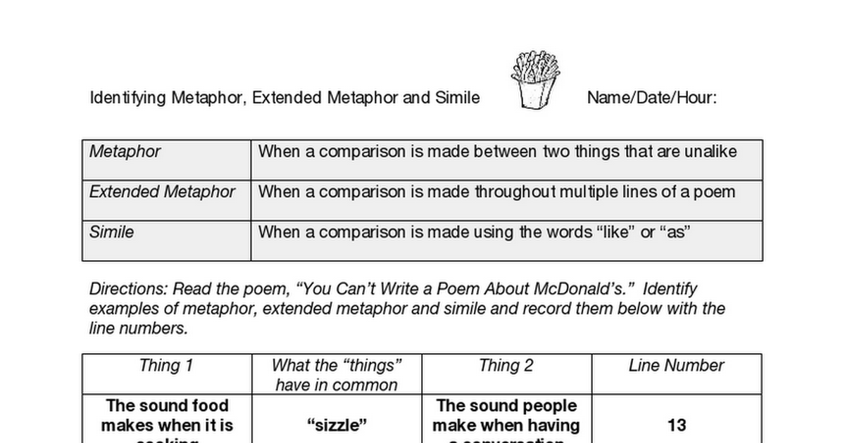 Identifying Metaphor Extended Metaphor And Simile Google Docs
