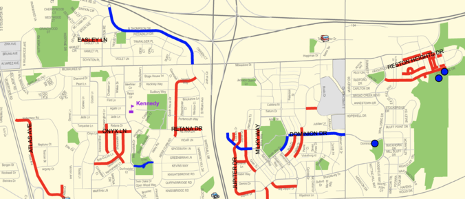 Screenshot of the map of streets getting sealed
