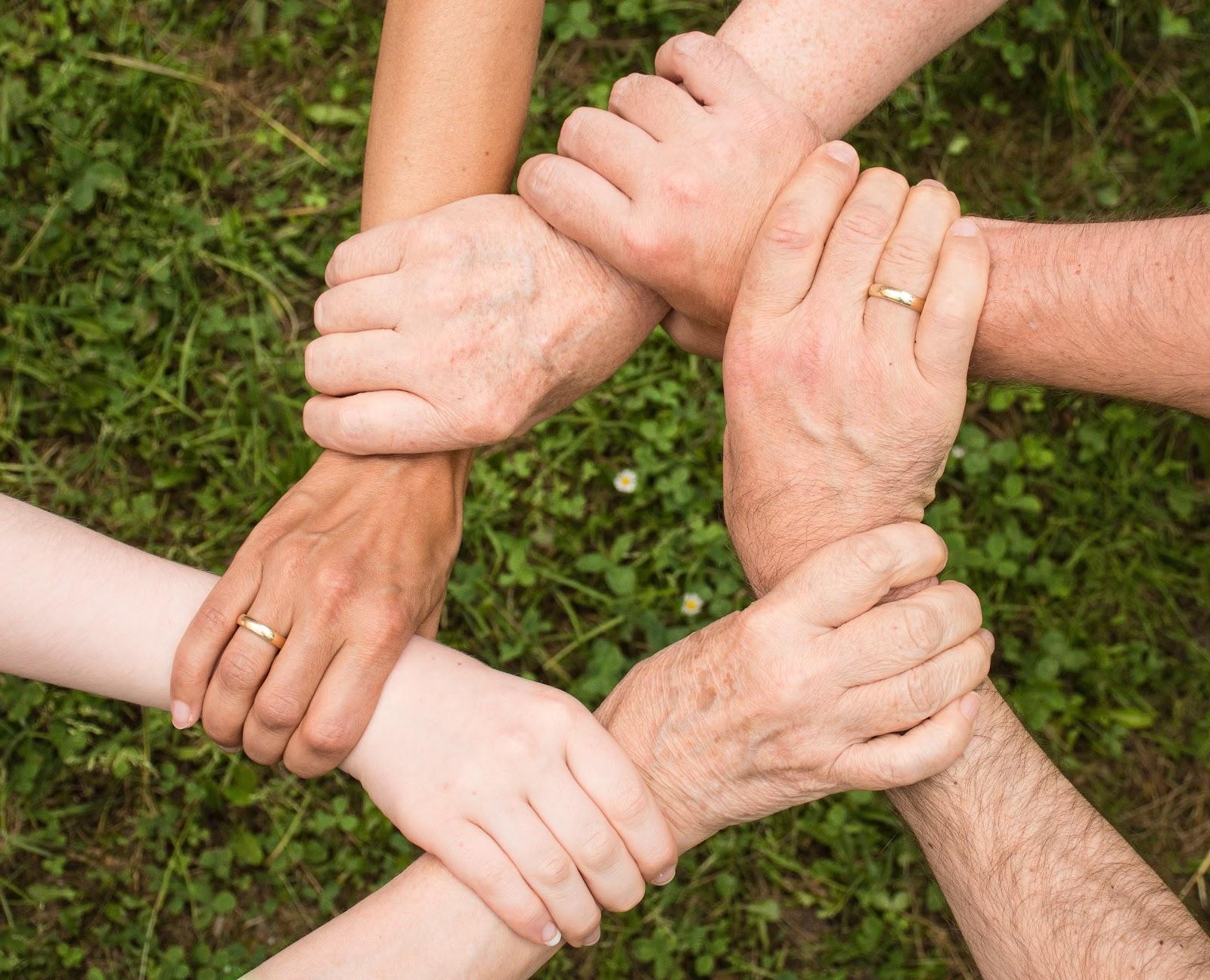 ידיים של משפחה מחזיקות אחת בשניה יוצרות רשת משפחתית