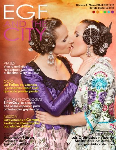 Portada de la revista EGF and the City (Marzo 2014), con dos falleras besándose.