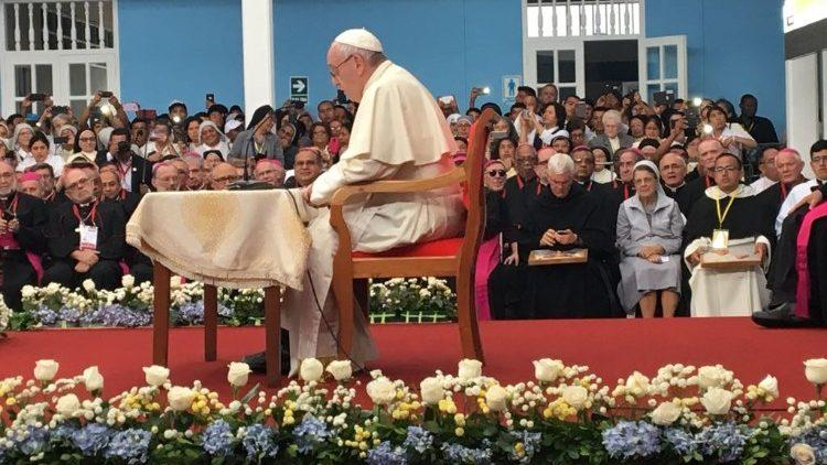 Pope Francis held the meeting in Trujillo''s seminary