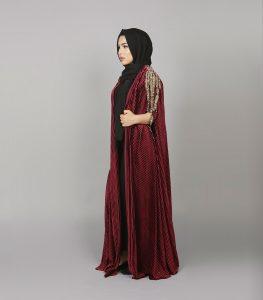 ruby velvet cape abaya 1