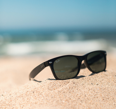Wayfarer sunglasses on the beach