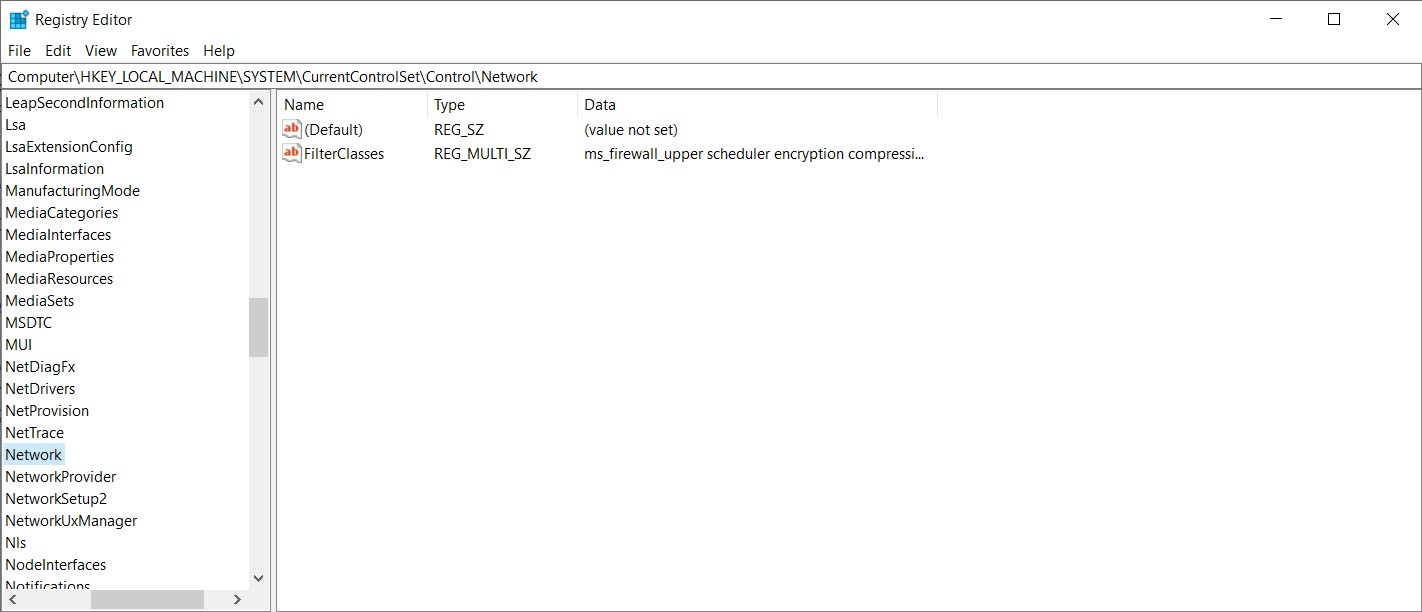 The Registry Editor window opens