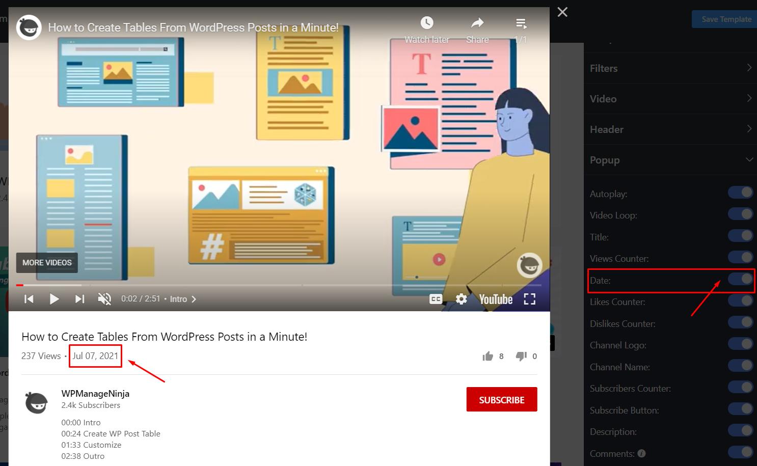 YouTube settings date