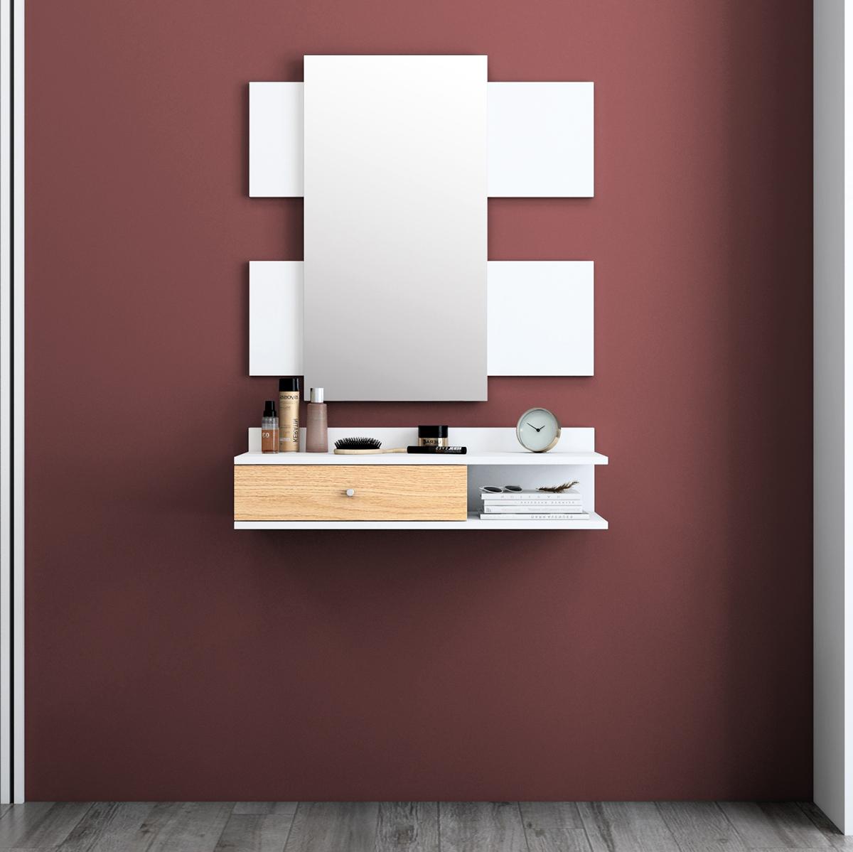 Recibidor minimalista en tonos blancos.