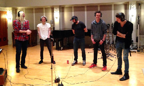 Band recording gang vocals