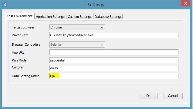verify QA data setting name in desktop client settings
