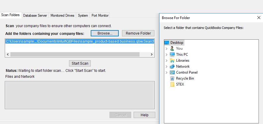 Scan folder in QuickBooks database server manager