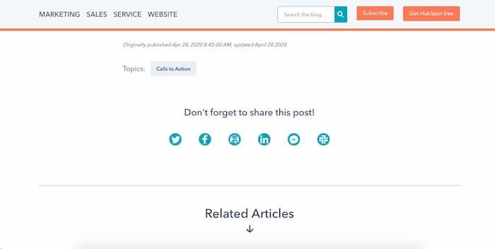 Hubspot sử dụng lời kêu gọi hành động yêu cầu chia sẻ trên mạng xã hội sau các bài viết của họ