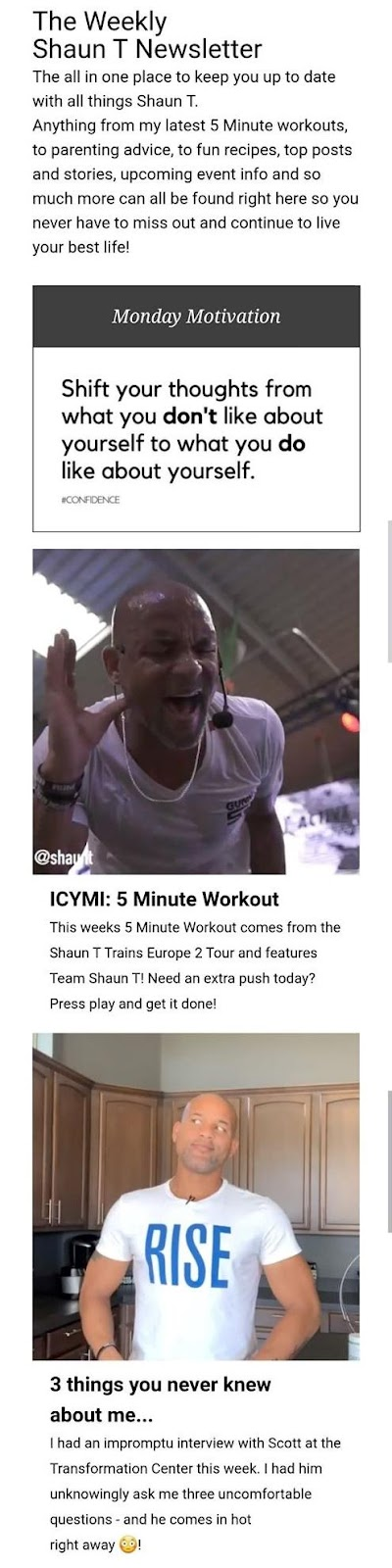 example from celebrity personal trainer, Shaun T.