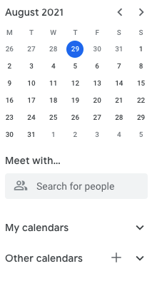 New calendar for meal plan