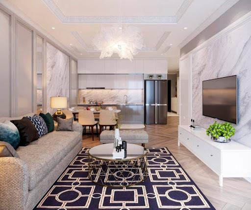 Thảm trải sàn cũng là một vật dụng trang trí làm tăng sự mới mẻ, sinh động cho phòng khách